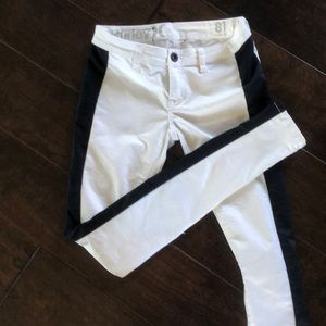 Hurley white jeans with black stripe on leg
